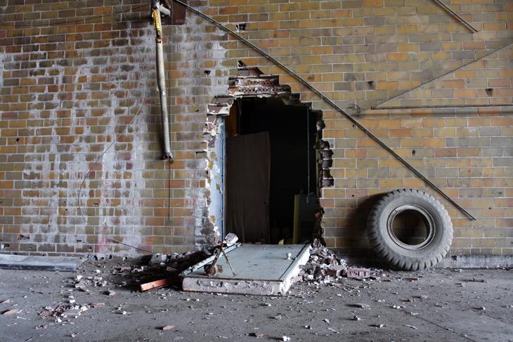 fallen door